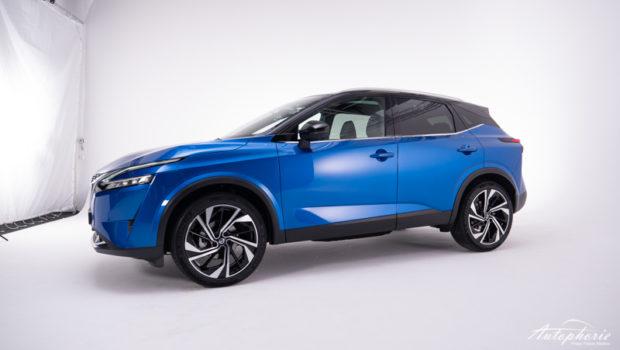 Nissan Qashqai dritte Generation Seitenansicht magnetic Blue